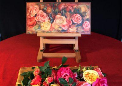 Installation tactile et olfactive autour du tableau « Roses » d'Auguste Renoir