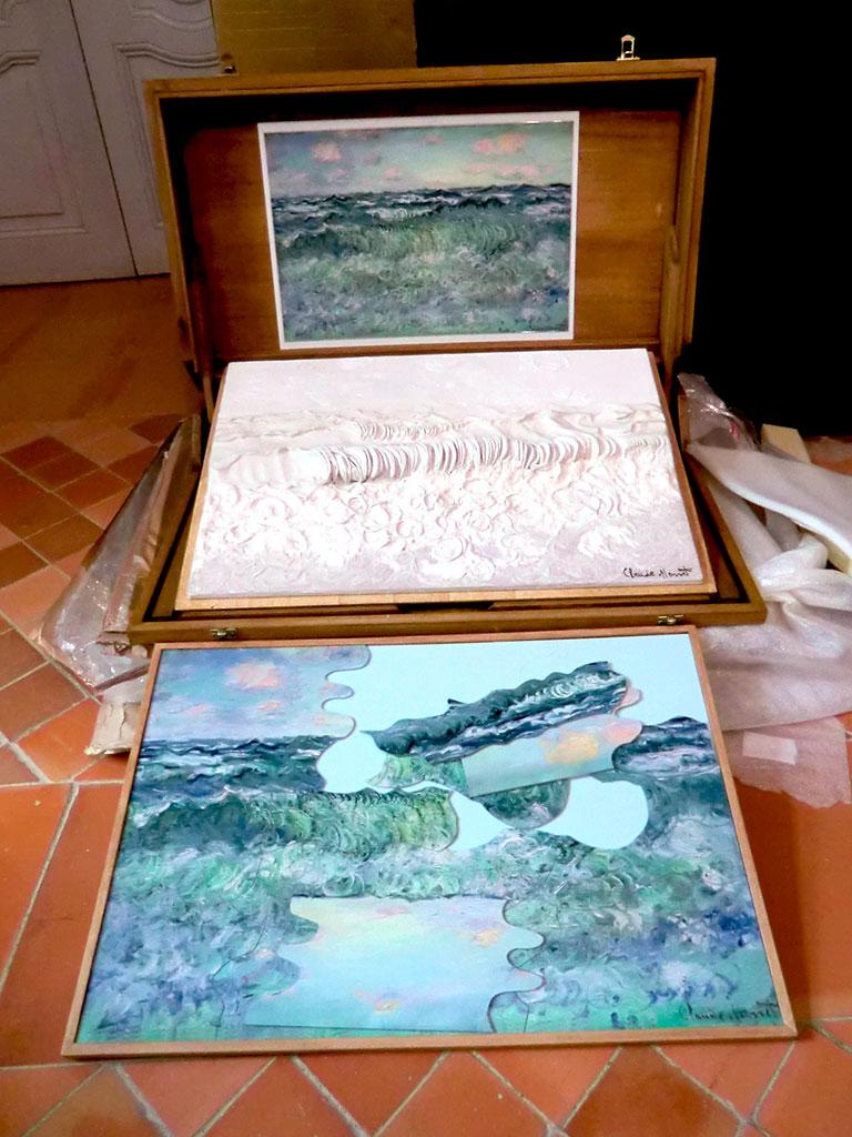 Coffret d'art sensoriel et tactile autour du tableau marine, Pourville de Claude Monet
