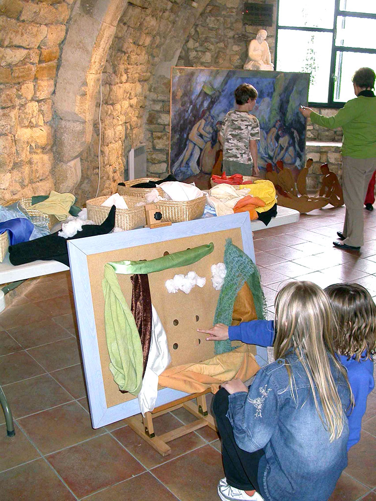 Composition textile les Baigneuses de Cézanne