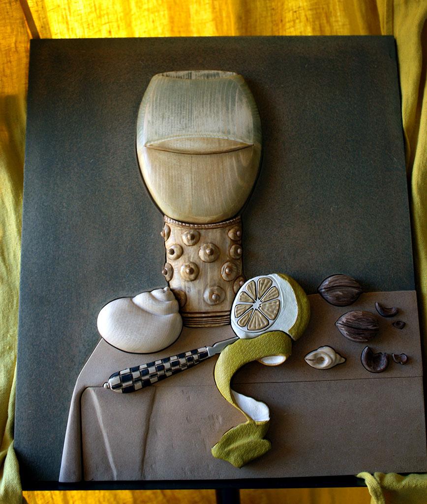 Transposition tactile du tableau Nature morte au citron de Maerten Boelema