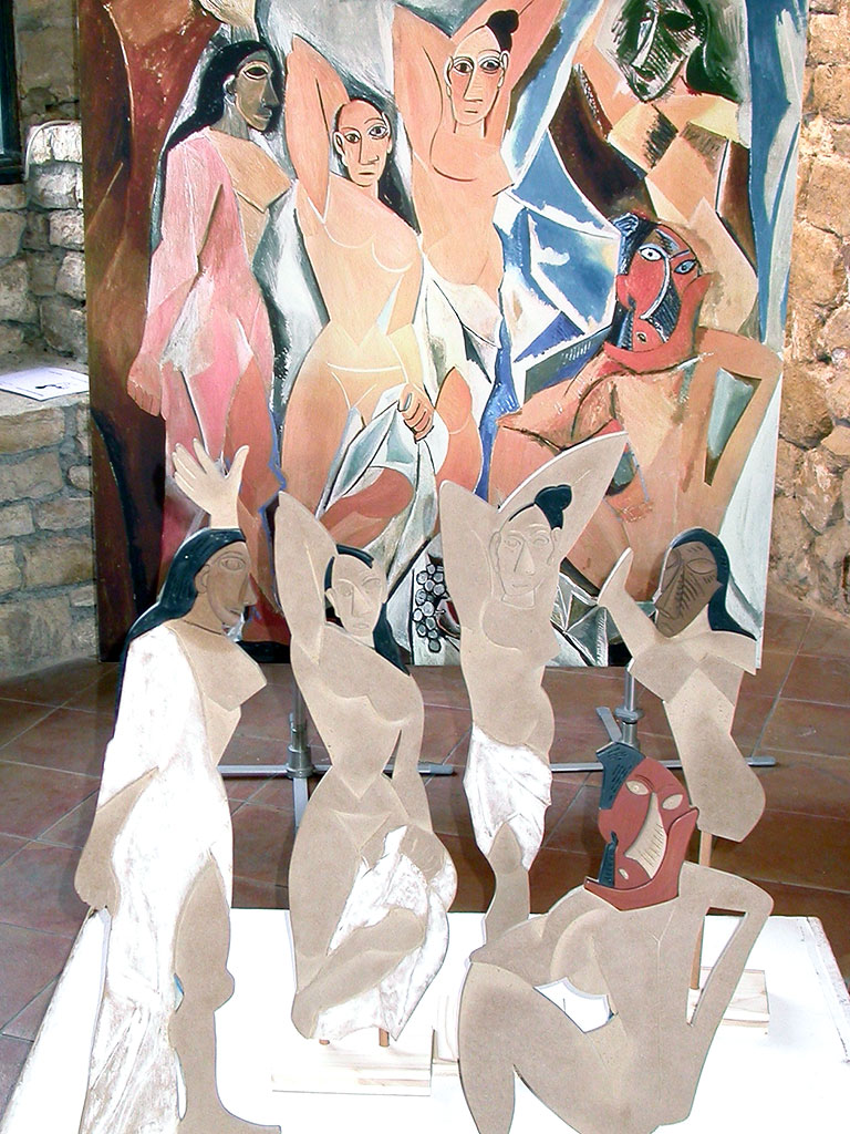 Tableau et silhouettes des demoiselles d'Avignon de Picasso