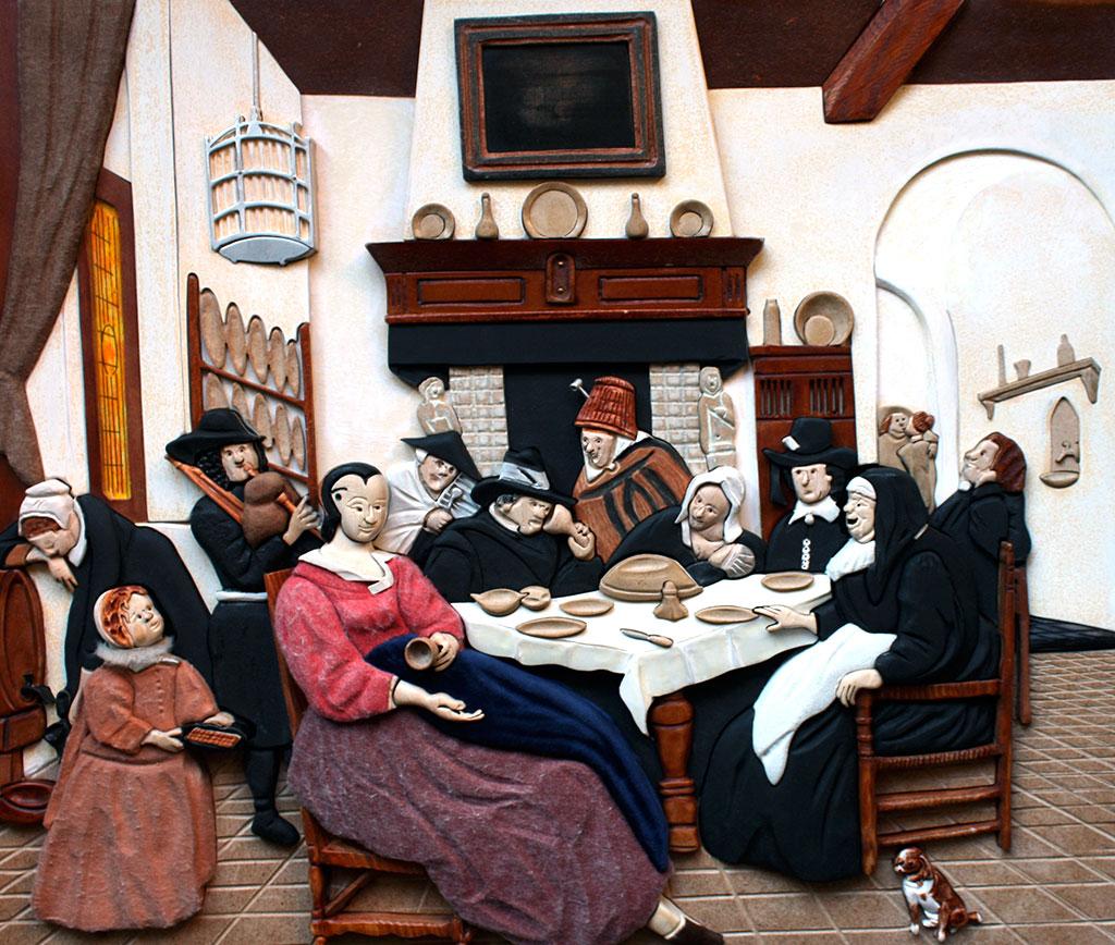 Transposition tactile du tableau de Jan Steen, La fête des rois